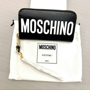 💯% Genuine Moschino Logo Leather Wristlet Wallet